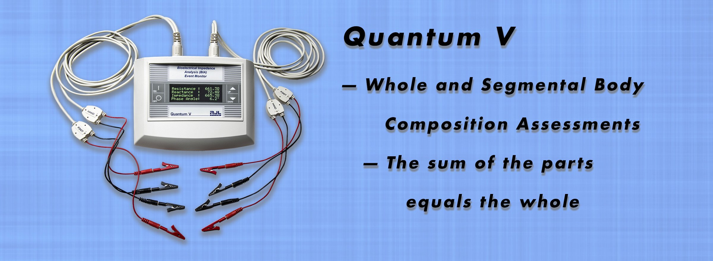 Quantum-V; Whole and Segmental Body Composition Assessments; The sum of the parts equals the whole